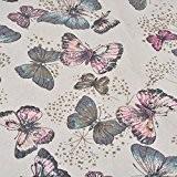Souarts Textile Tissu Coton Lin pour Diy Patchwork Motif Papillon 98cmx50cm