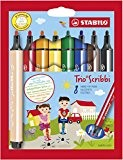STABILO Trio Scribbi - Étui de 8 feutres pointe large - Coloris assortis