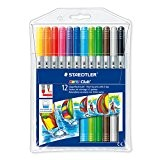 Staedtler - Noris Club 320 - Pochette Plastique 12 Feutres Coloriage Double Pointe 1 mm / 3 mm Assortis