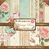 Stamperia - Papier scrapbooking assortiment roses vintage 10f recto verso - 170 gr/m2