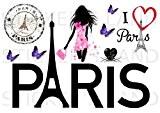 STICKERS DÉCORATIFS PARIS à découper (Planche à stickers DIMENSIONS 21x28cm en PAPIER ADHESIF TRANSPARENT)