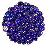 Stoned Galets décoratifs ronds en verre Bleu roi 1 kg 15-20 mm