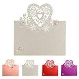 Sundautumn Lot de 50pcs Cartes de Nom Marque Place Motif Coeur Decoration de Table pour Mariage, Anniversaires, Fete, Couleur Blanc