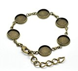 Support bracelet bronze pour 6 cabochons 12mm