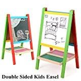 Tableau Enfant en Bois Double Face,Chevalet d'art pour Enfants,Chevalet Magnétique avec Lettres Magnétiques Numéro