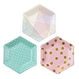 Talking Tables PARTY-PLATE Party Time Hexagonal Assiette 3 Designs Décoration Papier Carton Multicolore 3,5 x 21 x 21 cm Pack ...
