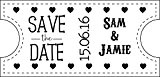 Tampon de mariage personnalisé-Save The Date Ticket