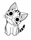 Tampon en bois - Chi le chat rigolo - Artémio