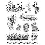 Tampons en silicone, feuille 14x18 cm, Printemps et Pâques, 1 feuille