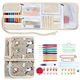 Teamoy-Ensemble des Aiguilles à crochet de haute qualité en multi couleurs/ portefeuille peltonné en toile/avec 9 accessoires tricot et crochet ...