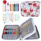 Teamoy Kit de crochet ergonomique, kit d'aiguille à tricoter, fermeture éclair avec 9pcs de 2mm à 6mm, poignées souples et ...