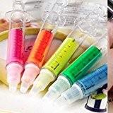 Tenflyer Lot de 6 Surligneurs en Forme de Seringue Stylos Fluorescents Plastique Ecole Bureau 6 Couleurs