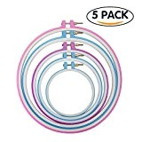 Tenn Well Cercles de Broderie, lot de 5 Cercles Point de Croix en Plastique pour
