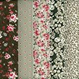 Textiles français Stoffpak - 5 Coupons Tissus (Couleurs Naturelles) - Collection 'fleurs intemporelles et points' - 46 cm x 56 ...