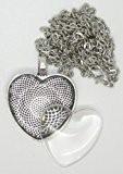 Thermoplastique Express Ensemble de 2 bijoux en argent en forme de coeur Pendentif médaillon à oeillets, colliers et cristaux adhésif ...