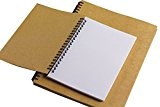 TININNA Simple 50 Pages Vintage Notebook Carnet de Format A5 Couverture Rigide Cadeau Ecole 13.5*19CM Kraft Blanc