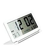 Tinksky Réveil LCD numérique, ultra-mince pliage silencieux LCD Travel Bureau Type numérique électronique radio-réveil avec Date heure température Snooze (blanc)