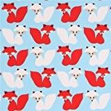 Tissu bleu clair par Robert Kaufman avec d'adorables renards blancs et rouges