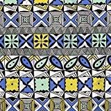 Tissu coton Afrique style - Bleu & jaune