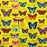 Tissu Coton Papillons multicolores Jaune - Par 50 cm