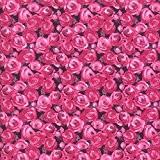 Tissu de coton imprimé - grenadine, rose et telemagenta | Roseraie (Un jardin de campagne - grenadine) | Largeur: 140cm ...
