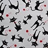 Tissu de coton imprimé | Le Chat Noir (sur fond blanc) | Largeur: 140cm (1 mètre)