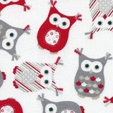 Tissu de coton imprimé | Les hiboux modeuse - gris et rouge sur fond blanc | Largeur: 155 cm (1 ...