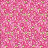 Tissu de coton imprimé - rose et vert | Roseraie (Un jardin de campagne - rose) | Largeur: 140cm (1 ...