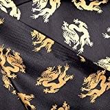 Tissu dragon asiatique satin de carnaval - Noir & jaune