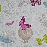 Tissu en lin imprimé - Papillon (Blanc) | 100% lin | Largeur: 140cm (1 mètre)
