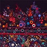 Tissu Robert Kaufman violet foncé Ebony, cercles multicolores, bleus et blancs