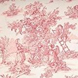 Tissu toile de Jouy grande largeur - Rouge & ivoire
