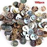 TOOGOO(R) Lot de 100 Perles Bouton en Nacre Coquillage Rond 10mm