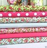 """Toujours à tricoter et coudre Tissu en polycoton-Fabulous Lot de 7""""Florence floral design-Lovely Sélection de Rose, Bleu, Vert, fleurs et ..."""