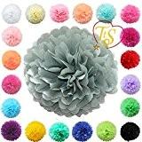 """TtS 10""""(25cm) Boules de Fleurs Tissu Papier Pom Pompons Papier de soie Boule Balle Pr Mariage Fête décoration - gris ..."""