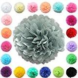 """TtS 20""""(50cm) Tissu Papier Pom Pompons Boules de Fleurs Papier de soie Boule Balle Pr Mariage Fête décoration (gris clair)"""