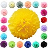 TtS lot de 5 (jaune clair) Tissu Papier Pom Pompons Boules de Fleurs Papier de soie Boule Balle Pr Mariage ...