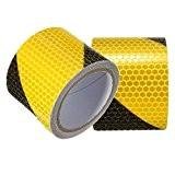tuqiang® 3m Noir avec bande jaune Twill réfléchissants Avertissement de sécurité autocollantes conspic uity Nuit Bandes réfléchissantes Tape Film Autocollants
