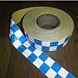 tuqiang® 300cm × 5cm Bleu avec bande réfléchissante carrés blanche Avertissement de sécurité autocollantes conspic uity Nuit Bandes réfléchissantes Tape ...