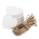 ULTNICE 100pcs Heart Shaped carte de papier Kraft festonné bricolage cadeau Lable étiquette en papier avec une corde de 10M ...