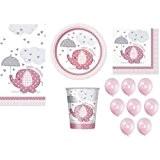 Unique Kit pour fête de naissance de fille comprenant assiettes, serviettes, verres et ballons Motif éléphant avec parapluie Rose