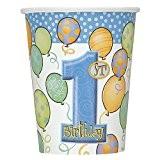 Unique Party - 23946 - Paquet de 8 Gobelets en Carton - 1er Anniversaire Ballons - Bleu - 266 ml