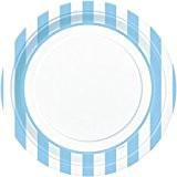 Unique Party - 37985 - Paquet de 8 Assiettes - Carton - Motif Rayé - 23 cm - Bleu Pastel