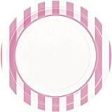 Unique Party - 37995 - Paquet de 8 Assiettes - Carton - Motif Rayé - 23 cm - Rose Pastel