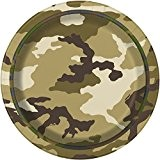 Unique Party - 48524 - Paquet de 8 Assiettes en Carton - Camouflage Militaire - 18 cm