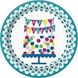Unique Party - 49605 - Paquet de 8 Assiettes en Carton - Confettis de Gâteau d'Anniversaire - 23 cm