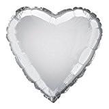 Unique Party - 52952 - Ballon à l'Hélium - Forme de Cœur - 45 cm - Argent