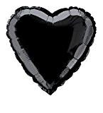 Unique Party - 52960 - Ballon à l'Hélium - Forme de Cœur - 45 cm - Noir