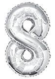 Unique Party - 55758 - Ballon Géant - Numéro 8 - 86 cm - Argent
