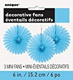 Unique Party - 63251 - Paquet de 3 Mini Rosaces de Décoration en Papier de Soie - Bleu Pastel